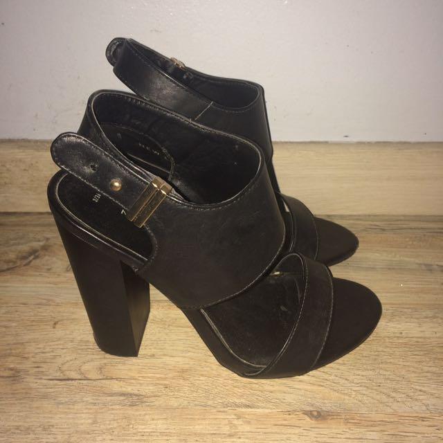 Black Strap Heels by NEW LOOK