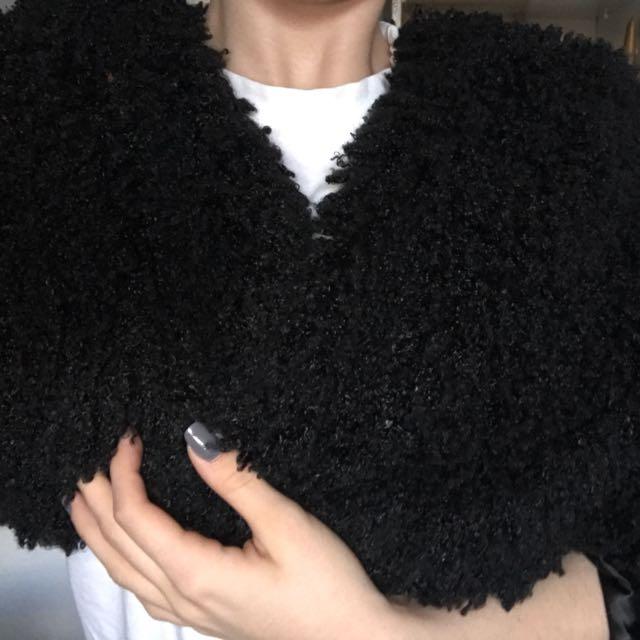 Black Woollen Crop Jacket
