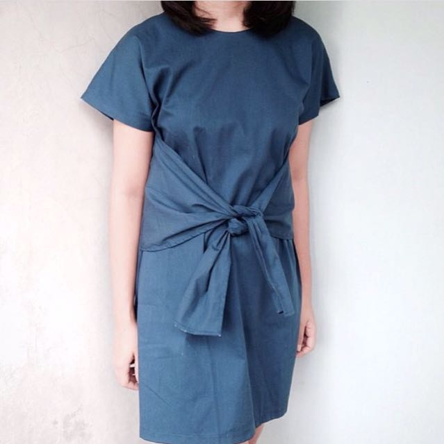 Blue Cotton Dress With Tie