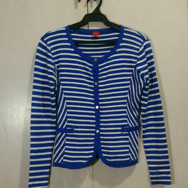 Repriced!!White & Blue Striped Top