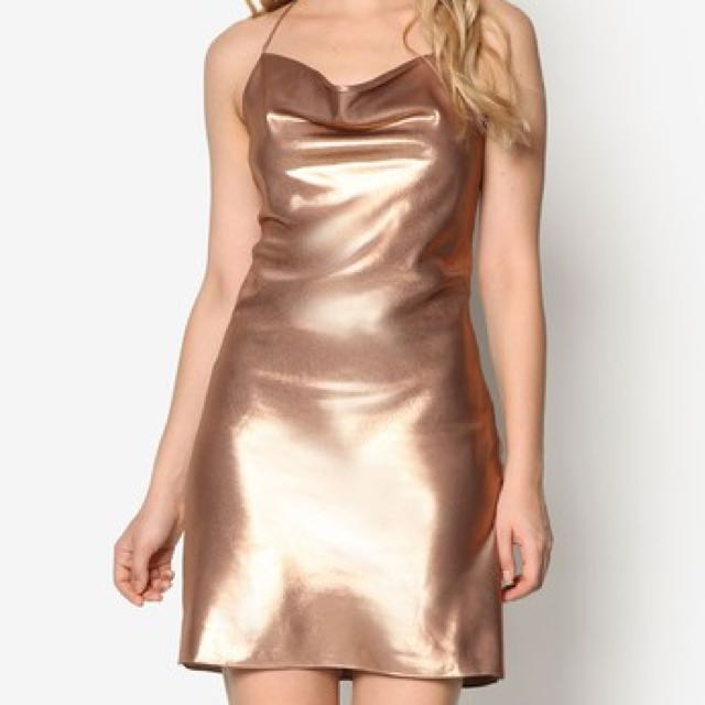 558872d5ed6 (BN) Miss Selfridge Gold Lame Cowl Neck Slip Dress