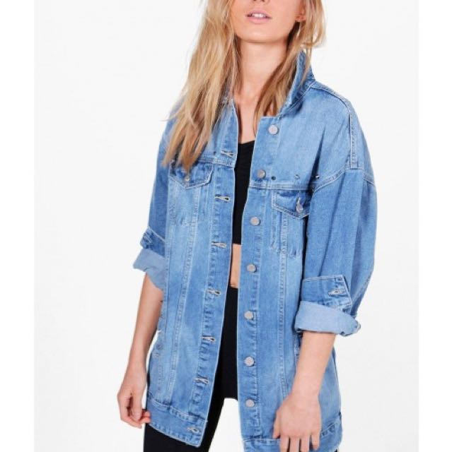BOOHOO Jeni Longline Distressed Denim Jacket