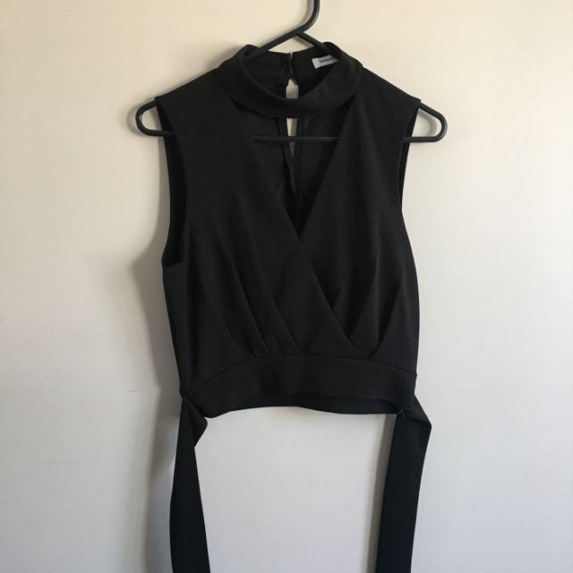 Brand New Black Cutout Crop Top