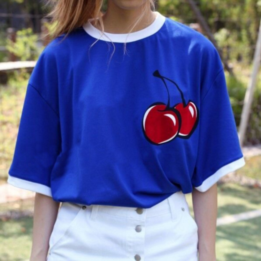 #LagiBest70 Cherry Korean Top . Young Style . Simple Daily Wear . Match with cap and sport shoes