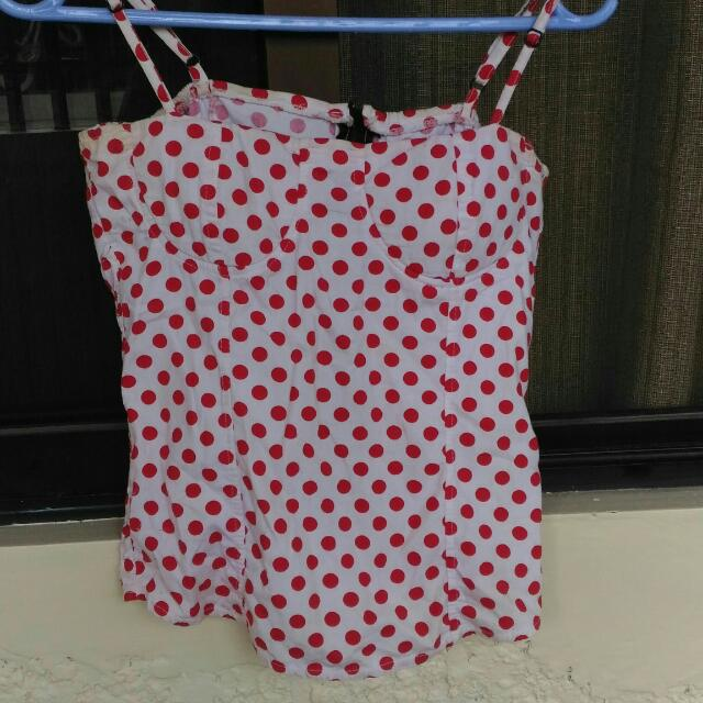 .corset polka dots