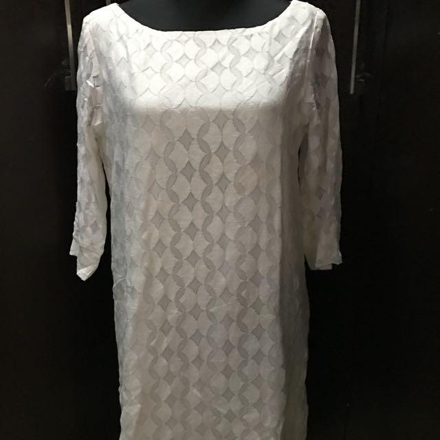 Dollface Off White Lace Shift Dress