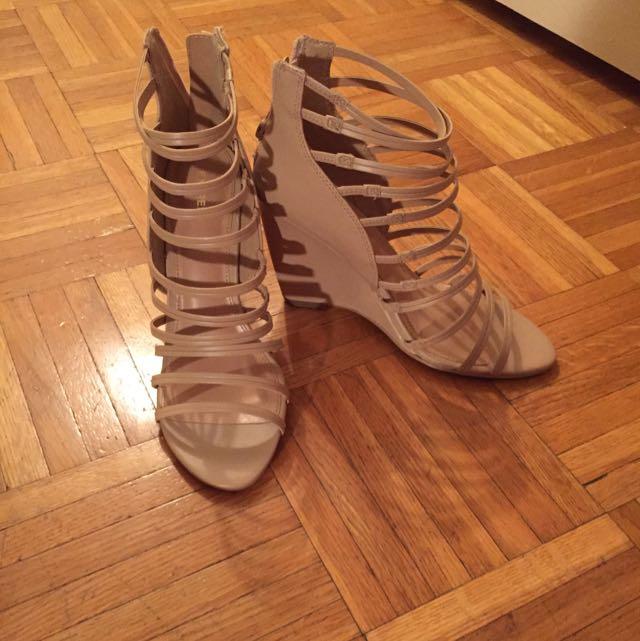 Express Beige Wedge Gladiator Heels