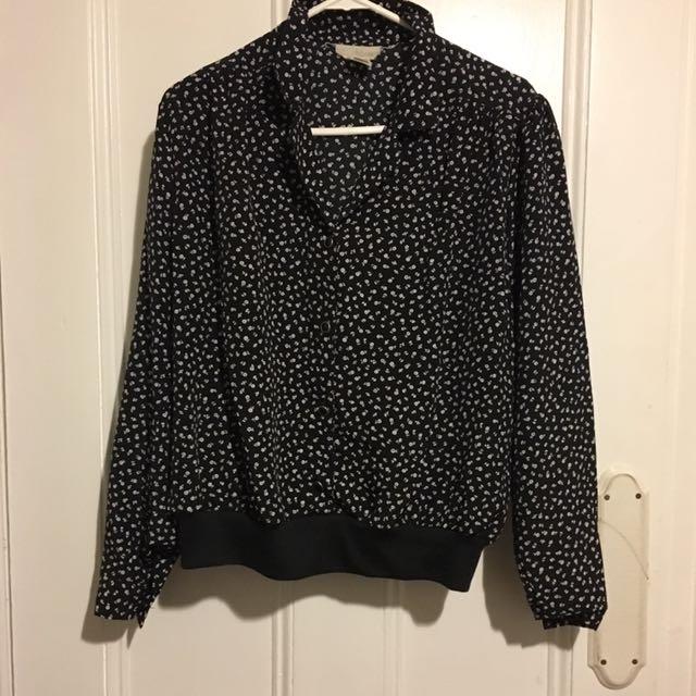 Floral Vintage Short Collar Shirt Size 10