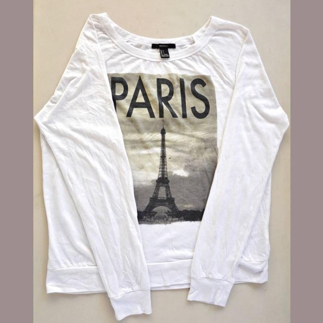 Forever21 Paris Longsleeves (White)