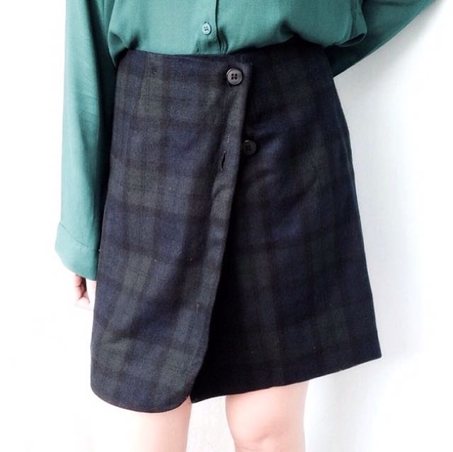 Front Button Wool Skirt