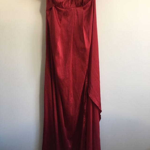 Gently Worn Red/Maroon Formal Maxi Dress