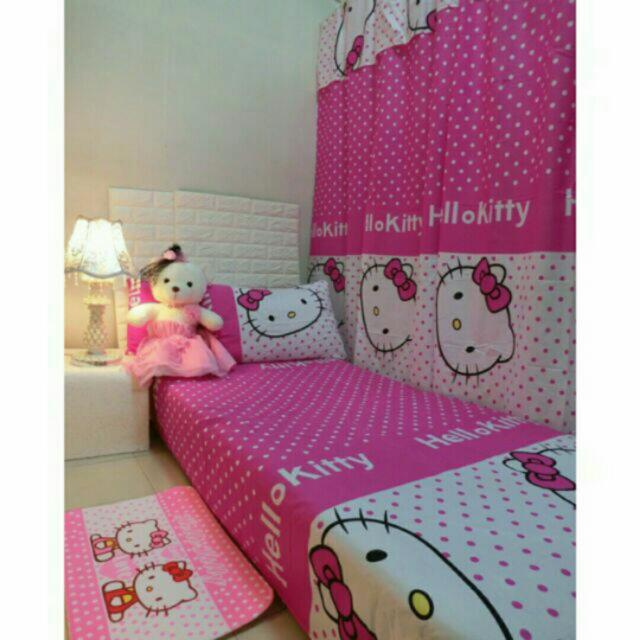 Hello Kitty 3in1 Bedsheet And Curtain