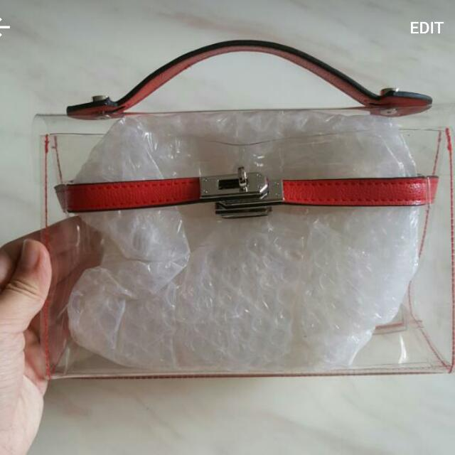 Hermes Kelly Inspired Transparent Clutch