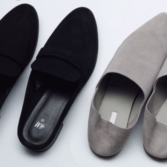 H\u0026M Black Mules Loafers, Women's