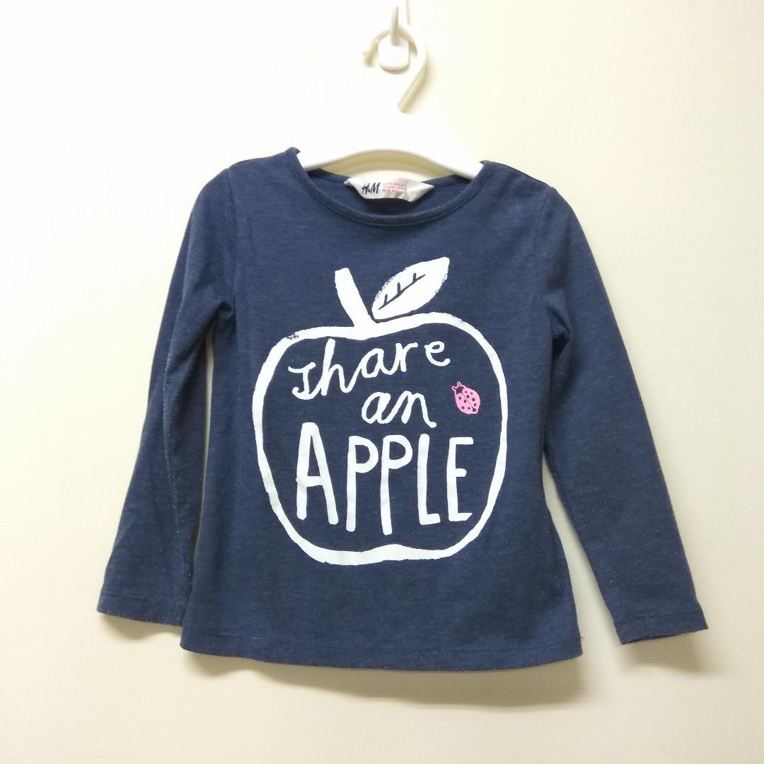 H&M  女童蘋果長袖T恤 2Y