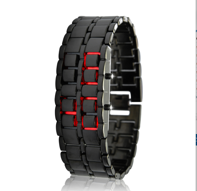 "Japanese Style Inspired Red LED Watch ""Iron Samurai"""