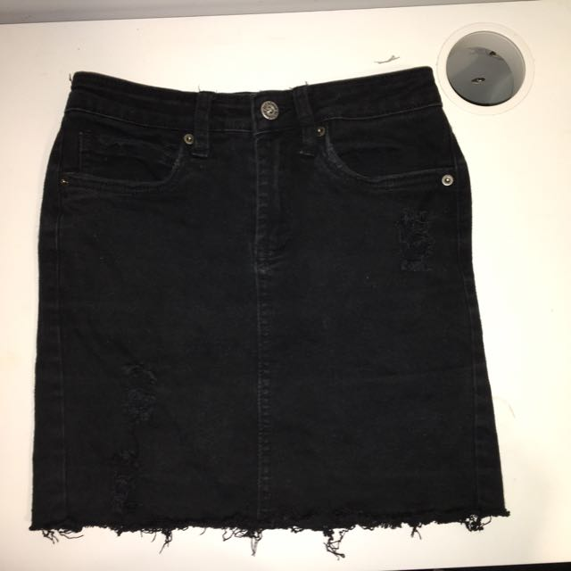 Junkfood Distressed Denim Skirt
