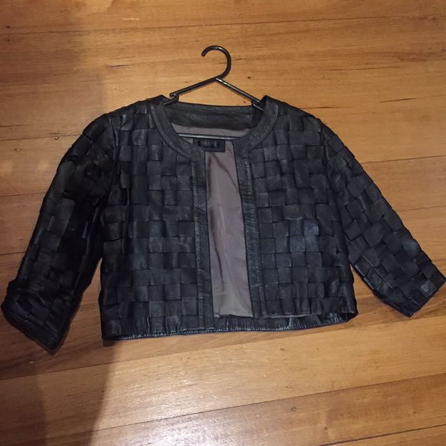 Leather Weaved Jacket
