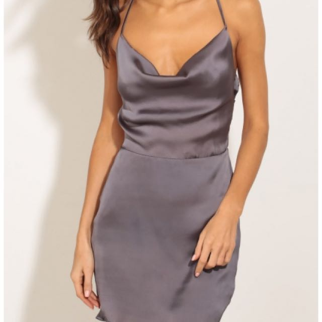 Lucy In The Sky Satin Cowl Dress In Charcoal