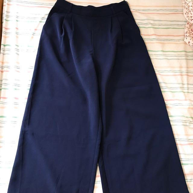 Meier q厚雪紡藍色寬褲長褲 S號