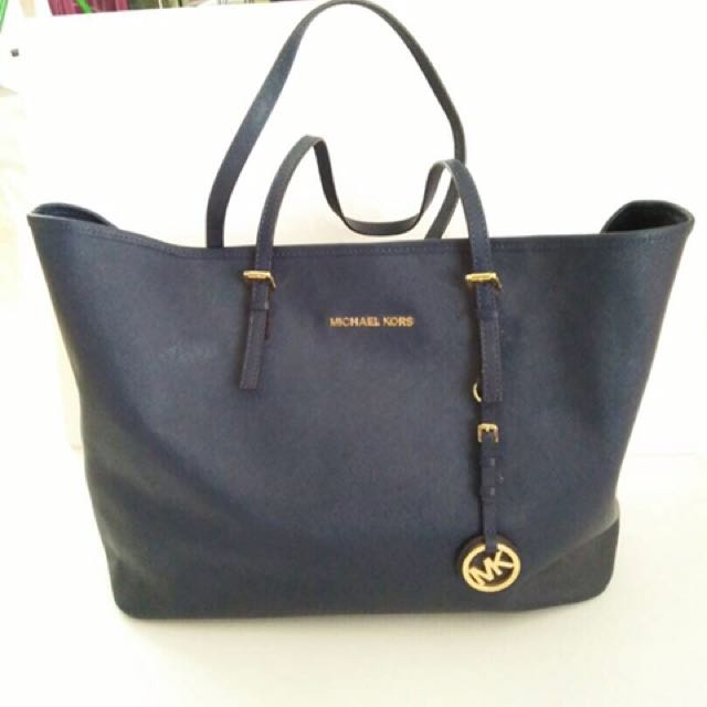 Michael Kors Jet Set Dark Blue Travel Tote Handbags