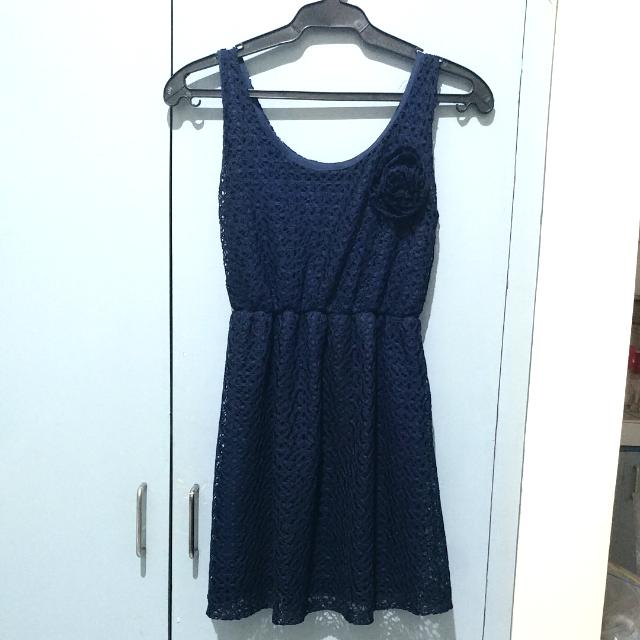 Navy Blue Korean Dress