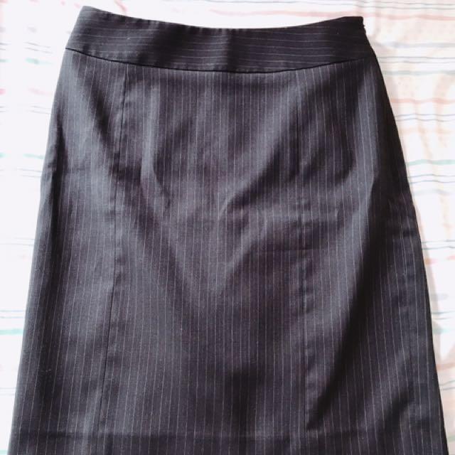 NET細條紋短裙裙子