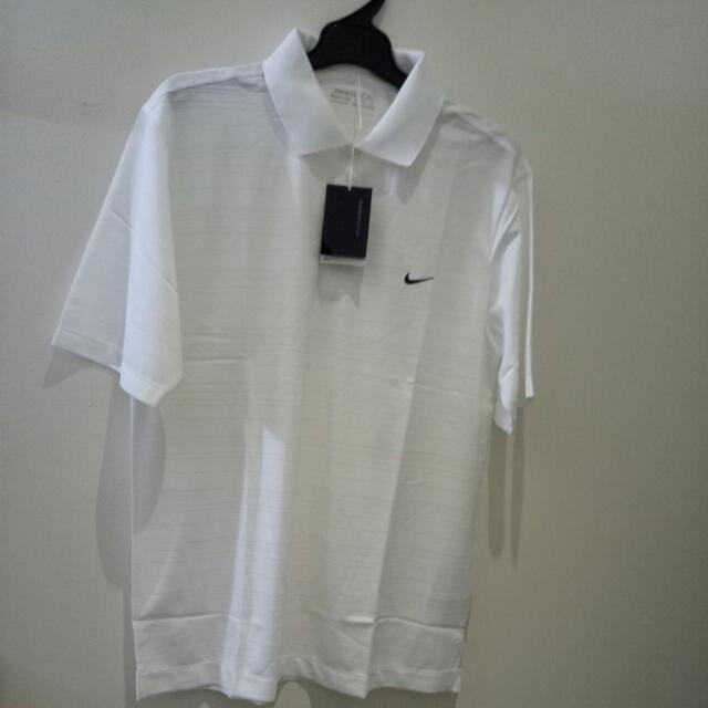 NIKE 快速排汗抗UV短袖POLO衫(白色條紋)(尺寸:XL)