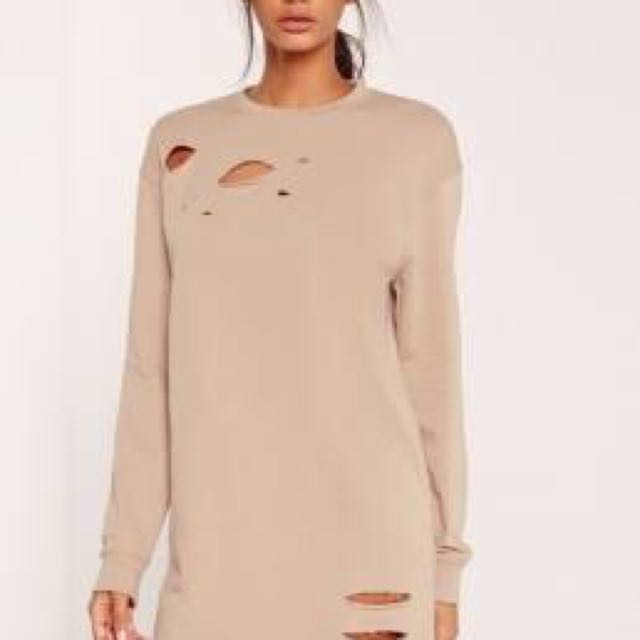 Nude ripped oversized jumper