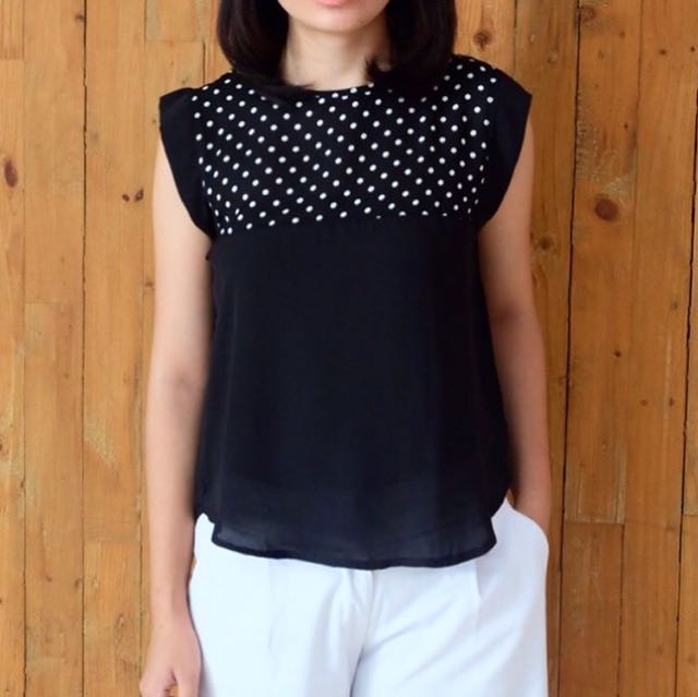 Polka Black Sleeveless Top