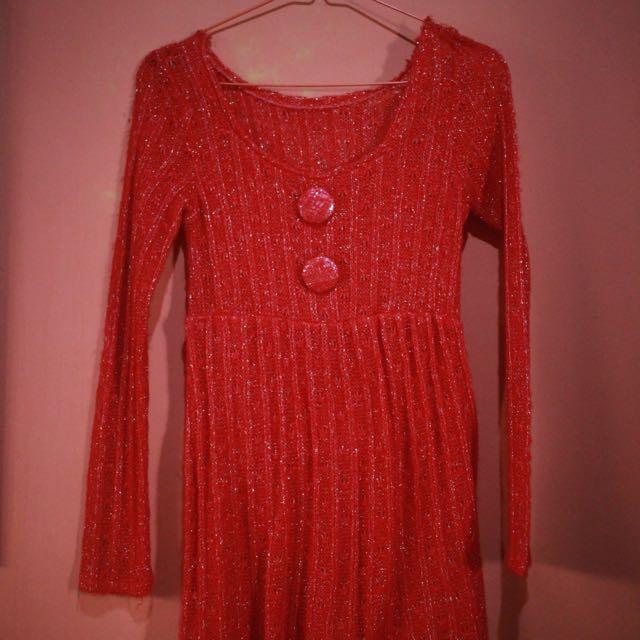 Red dress rajut
