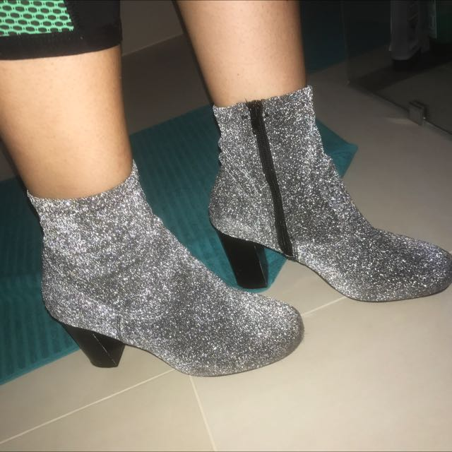 Silver Sparkly Boots! Size 40