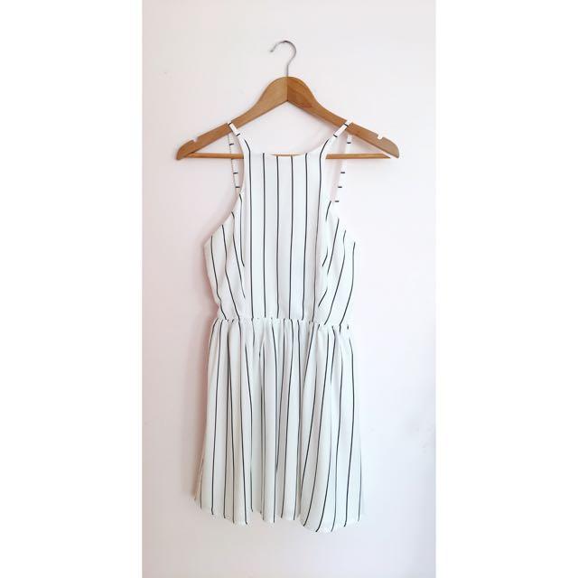Size 8   Luvalot   Black & White Stripe Dress