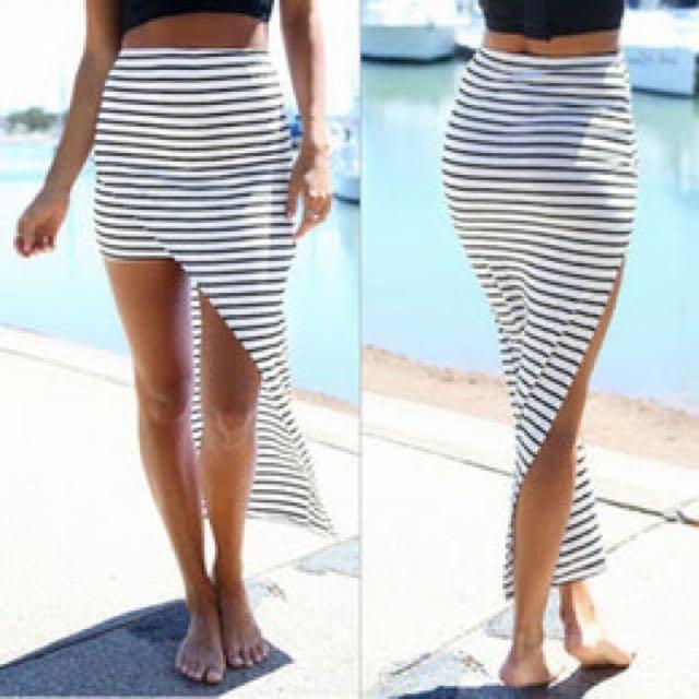 Stripe Black And White Skirt