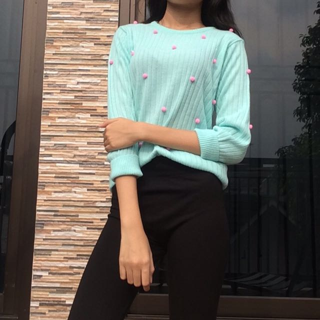 SWEATER KNIT mint green with pompom