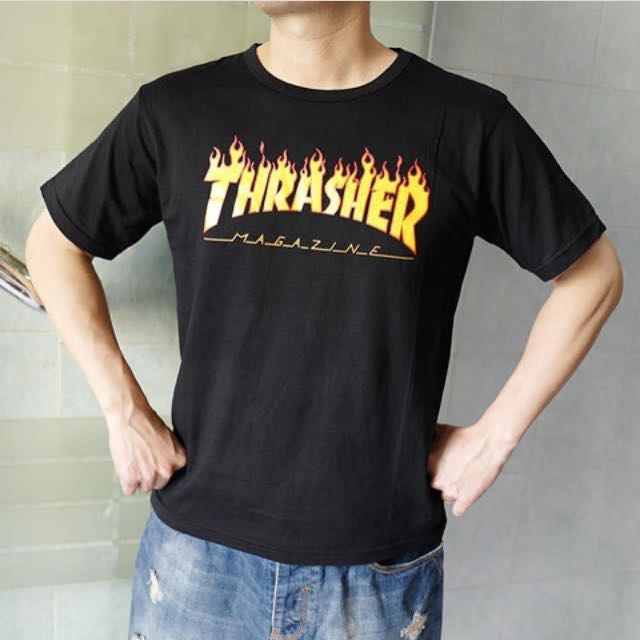THRASHER Men Tee ( Black White )