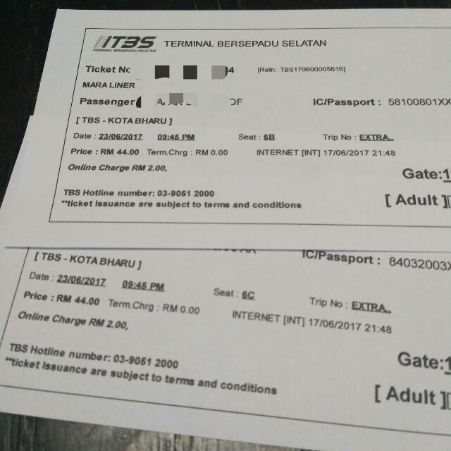 Tiket Bas Raya Tbs Kota Bharu 23 Jun Tickets Vouchers Event
