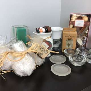 Candles, candle holder, essential oil diffuser, mini fondue and more