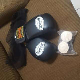 Musashi Boxing Gloves + Wraps .