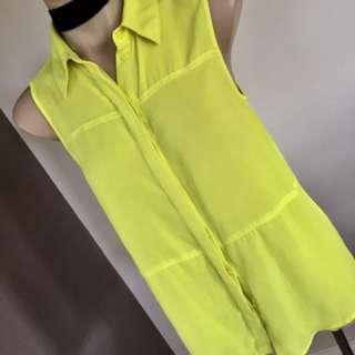 Mossimo Dutti Yellow Sleeveless Button Top Size 8 10 12