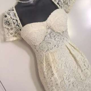 Ladies Bustier Wiggle Lace Wedding Work Yellow Dress Size 6 Xs