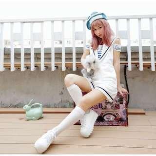 女裝陸軍白色連身短褲(燈光黃)