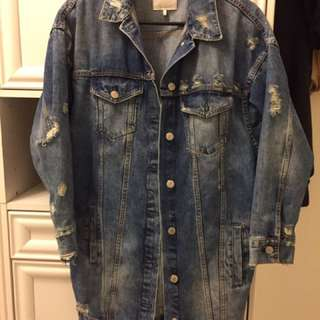 Zara Extra Long Denim Jacket
