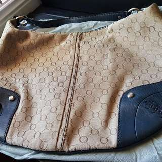 Pre-loved Authentic Oroton Hobo Leather/Fabric Bag