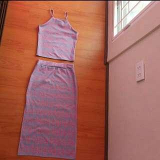 Terno Crop Top Sleeveless With Skirt