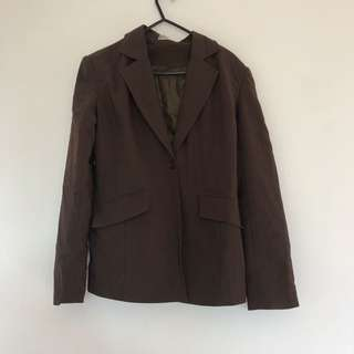 Womens Brown Tailored Suit Jacket Size 8