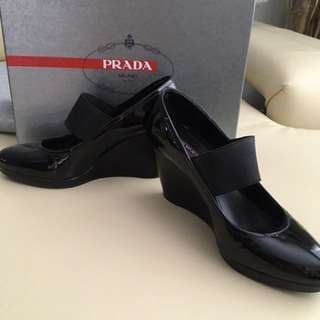Prada Black Patent Wedge Heel Sz 36