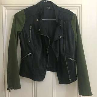 Faux Leather Jacket with Khaki Sleeves