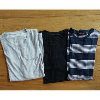 PACKAGE: UNIQLO plain gray t-shirt, FOREVER 21 plain black t-shirt, TOPMAN striped t-shirt