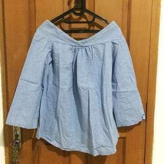 Berrybenka Blue Off-Shouler Top